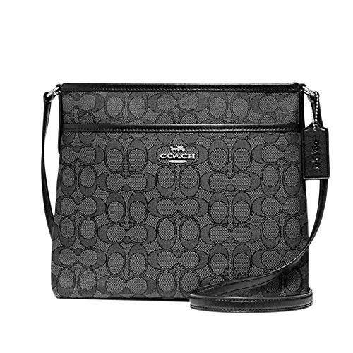 "Size Approximate Measurements: 10 1/4"" (L) x 8 3/4"" (H) x 2"" (W) Signature jacquard with smooth leather details Zip-top closure, fabric lining Outside slip pocket Adjustable strap with 21 3/4"" drop for shoulder or crossbody wear"