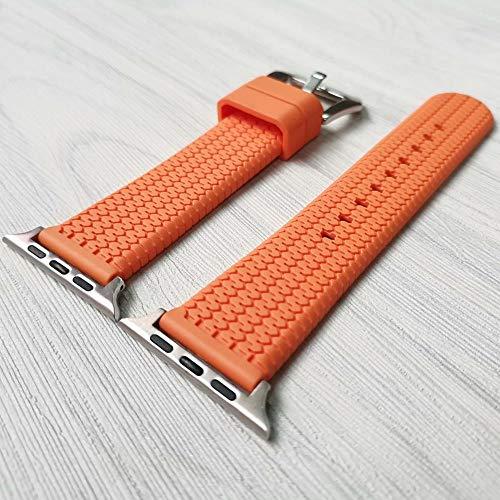 YMYGCC Correa Reloj Banda del Reloj de la Correa de Silicona 42mm 38mm 44mm 40 mm Bandas de Goma de la Correa Serie de Pulsera 6/5/4/3/2/1 711 (Band Color : Orange S, Band Width : 38 40 mm)