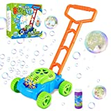 Fixget Bubble Machine for Kids, Automatic Bubble Lawn Mower, Summer Fun Bubble Blowing Push Toys, Bubble Solution Included, Outdoor Play Toys Birthday Gift for Kids Toddler