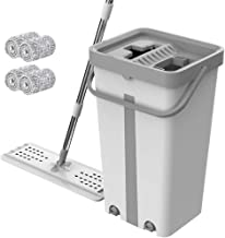 Mop with Bucket Magic Cleaning Mop with Bucket Free Hand Squeeze Horizontal Board Floor Cleaning Tool for Home Kitchen Floor