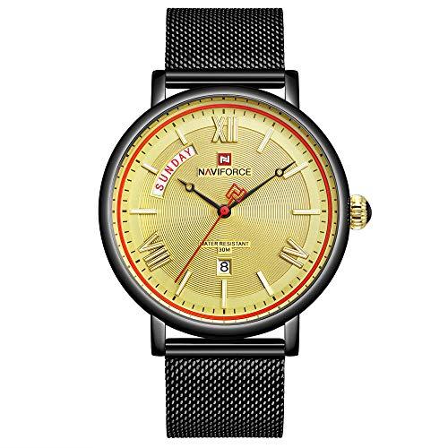 Reloj de Cuarzo analógico de Acero Inoxidable japonés para Hombre con Correa de Acero Inoxidable -C