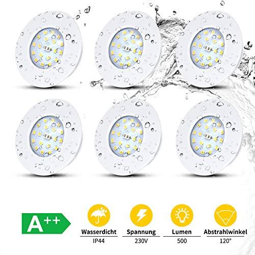 LED Badeinbaustrahler Ultra Flach Inkl. 6 x 5W 500lm LED Modul, IP44 Einbaustrahler Badleuchten, Einbauspot Bad Deckeneinbaustrahler Deckenstrahler, 230V Rund Weiß, Neutralweiß 4500K
