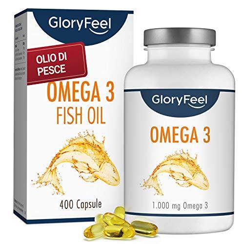 Omega 3 Olio di Pesce | 400 Capsule di Omega-3 1000mg (Fornitura per più di 1 anno) | Integratore Alimentare di GloryFeel®