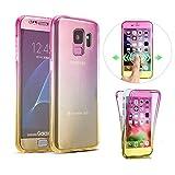 SevenPanda Cubierta del teléfono Celular para Samsung Galaxy S6 Edge Plus, Round Safety Ultra Delgado 360 Grados Negro Full Body Touch Case Piel del teléfono Celular Crystal Clear Accesorios Funda