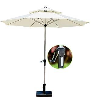 Sombrillas Parasol Jardin Ø 2.7m / Ø 9ft Patio Doble Superior, Mesa para Jardín Al Aire Libre con Manivela, Blanco Crema (Color : Cream White)