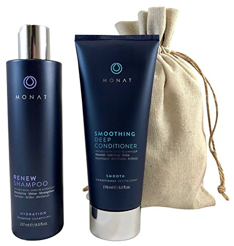 Monat Renew Shampoo and Smoothing Deep Conditioner with FREE Linen Bag Bundle
