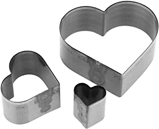 3pcs Leather Craft Cutting tool Hole Hollow Steel Cutter Punch Tool Kit Heart-shaped Drop shape Pentagram Cutting Mold(Heart-shaped)