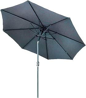 9' Outdoor Umbrella Patio Table Market Umbrella with Push Button Tilt/Crank, 8 Ribs.(Grey)
