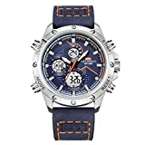 Herrenuhr Business wasserdicht Chronograph Mode Armbanduhr Sport Analog Quarz Lederband Kalender