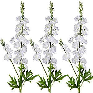 3 Pcs White Delphinium Artificial Flowers Wedding Flowers Bouquet White Blossoms Flowers Stems Silk Garden Larkspur Plant Spray 33″ Tall for Vase Floral Arrangement Table Centerpiece Decor