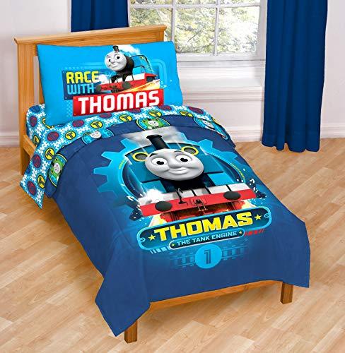 Thomas & Friends The Tank Engine Race Friends 4 Piece Toddler Bed Set – Super Soft Microfiber Bed Set Includes Toddler Size Comforter & Sheet Set (Official Mattel Product)