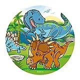 Dekora - Decoracion Tartas de Cumpleaños Infantiles en Disco de Oblea de Dinosaurio - 20 cm