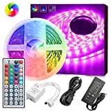 Led Strip Lights, GOADROM Waterproof 16.4ft 5m Flexible Color Changing RGB SMD 5050 150leds LED Strip Light Kit with 44 Keys IR Remote Controller and 12V Power Supply