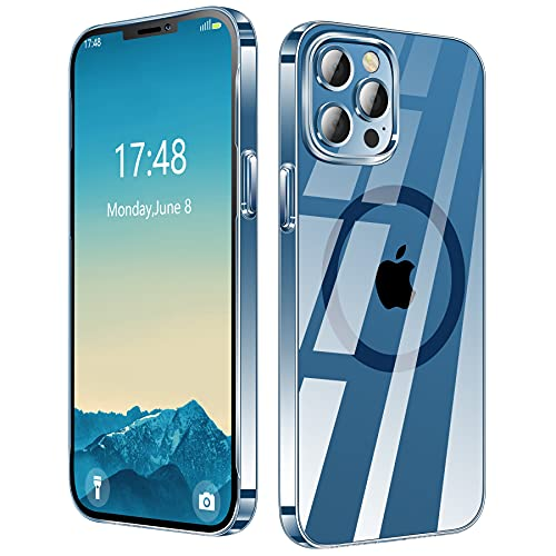 ENSKKO Kompatibel mit MagSafe,[Ultra Dünn] für iPhone 12 Hülle/iPhone 12 Pro Hülle [Vergilbungsfrei],Transparent Harte PC Rückseite Kratzfest Passt Magnetischen Handyhülle 6,1,Klar+Pazifikblau Knopf