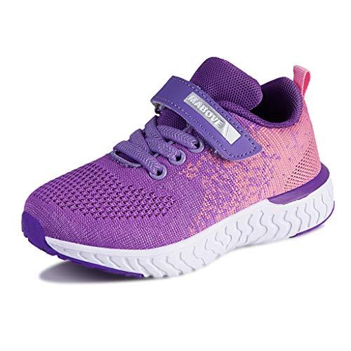 Laufschuhe Kinder Mädchen Sportschuhe Atmungsaktiv Leicht Turnschuhe Klettverschluss Outdoor Fitnessschuhe Sneakers für Gym Indoor Unisex-Kinder(Blau.YF644,29 EU)