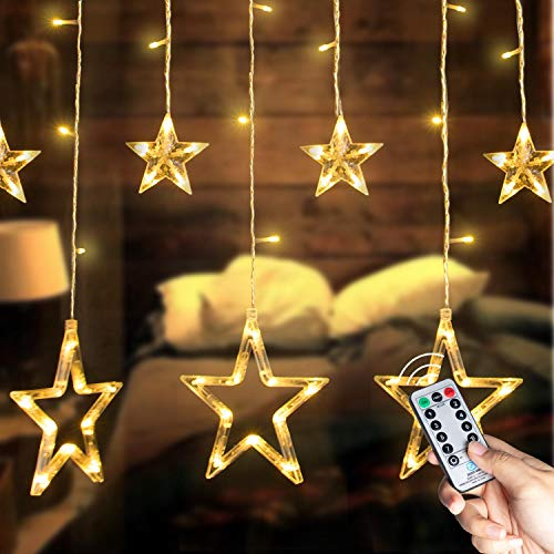 8.2 Feet Star Curtain Lights Warm White 12 Stars 138 LED 12 Drop Fairy String Lights Connectable Waterproof for Outdoor Use 8 Lighting Modes Timing for Ramadan Party Bedroom Wedding Window Christmas