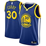 ANMOQI Royal – Curry Embroidery Traning Jersey Golden Stephen Basketball Jersey Warriors #30 Swingman State Icon Edition-S