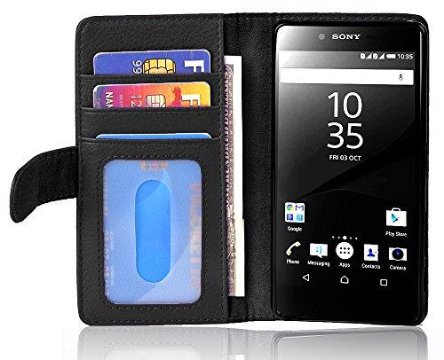 Cadorabo Hülle für Sony Xperia Z5 Premium in Oxid SCHWARZ – Handyhülle mit Magnetverschluss & 3 Kartenfächern – Hülle Cover Schutzhülle Etui Tasche Book Klapp Style