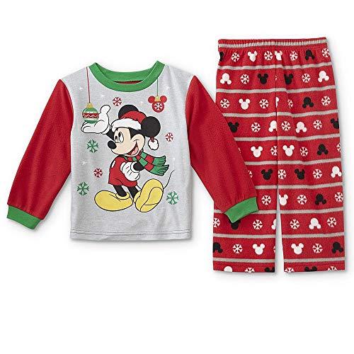 Disney Mickey Maus Fleece Schlafanzug 86/92 98/104 Zweiteiler USA Size 2 t 4 t Nachtwäsche Junge Micky Weihnachten Winter (98/104)