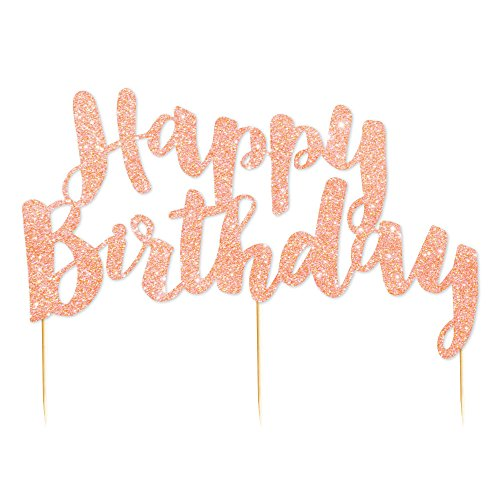 Illume Partyware Rose Gold Glitter Happy Birthday Cake Topper,, Height 6.5 Inches x Width 5 Inches for Birthday Parties for All Ages