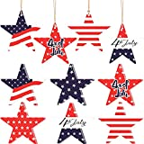 24 Pieces 4th of July Wooden Star Ornaments Independence Day Wooden Star Shape Cutouts American Flag Hanging Star Wooden Slices Hanging Star Wooden Chips Ornament with USA Flag, 6 Styles, 3.1 Inch