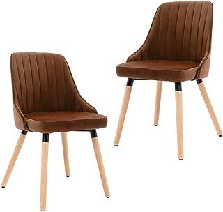 vidaXL 2X Sillas de Comedor Asiento Mobiliario Muebles de Salón Sala de Estar Cocina Escritorio Hogar Suave Cómodo Respaldo de Terciopelo Marrón