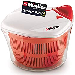 top 10 salad spinner tupperware MUELLER Large 5L Salad Spinner Vegetable Washer Bowl, Anti-Wobble Tech, Closed Sheave …