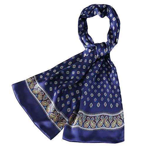 Seidenschal Herren 100% Seide Schal Doppellagig aus Satin Seidentuch Hypoallergen krawatte Nackenschutz Tuch im Winter 160 x 30cm (Elegantes Blau)