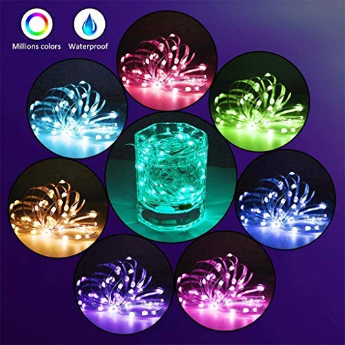 JKEEMI 16.4ft 50LED String Lights with App Remote Control, Waterproof Christmas Decorative Lights, Turn on/Off Auto Function, Individual/Group Control,16 Million Colors 29 Modes