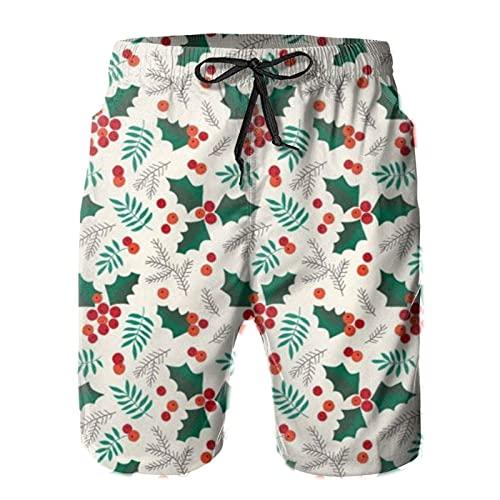 Yesliy Navidad acebo y bayas en crema pantalones cortos de hombre troncos casual playa secado rápido tabla casual hogar pantalones cortos