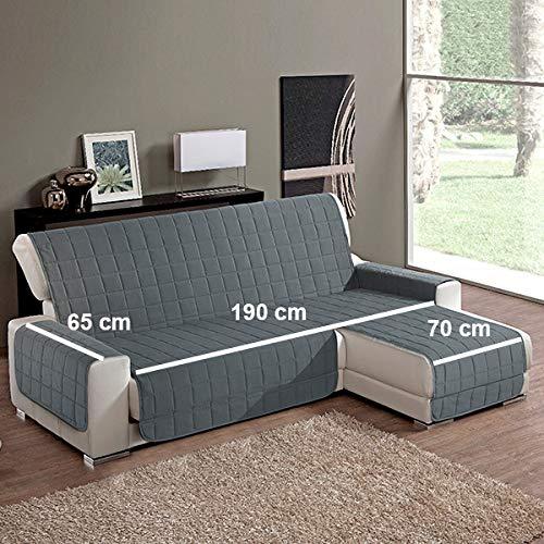 Simplicity Plus Copridivano Salvadivano idrorepellente adatto per PENISOLA (chaise longue) sia a destra che sinistra (190 cm, Grigio Scuro). Colori certificati OEKOTEX