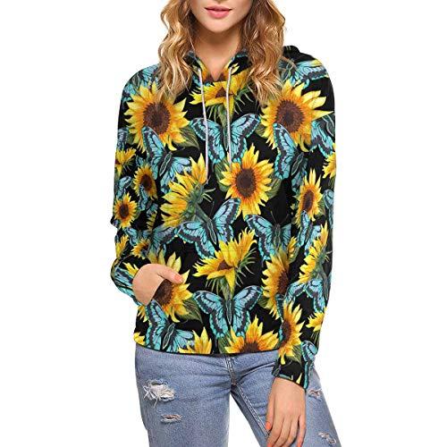 INTERESTPRINT Sunflower Blue Butterflies Watercolor Women's Hoodies Sweatshirt Pullover XL
