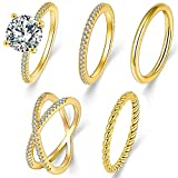 5 Pcs Gold Knuckle Rings Set for Women, 14K...