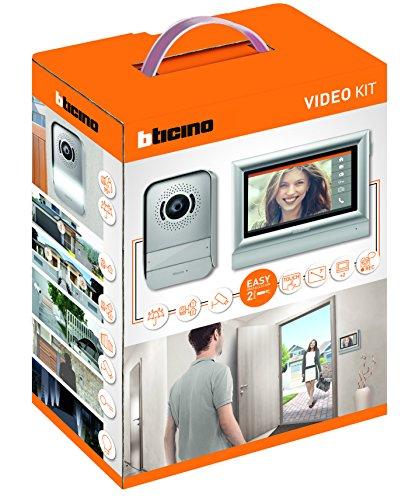 Bticino 317113Kit Gegensprechanlage mit 2Kabeln Touchscreen 7Zoll (17,8 cm) Einfamilienhaus/Doppelhaus, grau, grau