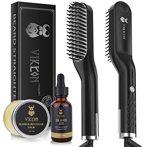 Beard Straightener for Men with FREE Beard Oil and Beard Balm, Fast Anti-Scald Beard Straightening Comb, Double Sided Ceramic Heated Beard Brush 3 Temperature Settings Portable for Travel and Home