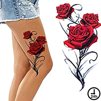 Flower red rose temporary tattoos adults kids women girls flora big small roses halloween temp tattoo body art forearm shoulders legs sticker on transfer paper