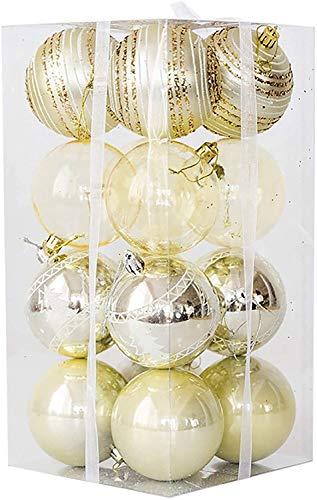SERBHN Natale Baubles Albero Ornamenti, 16 Pz Natale Palle Gancio, 8 Centimetri Baubles Albero di Natale, Decorazione Natalizia (Dimensioni: Confezione da 16)