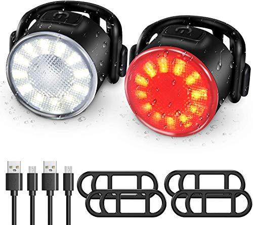 WOTEK Luces Bicicleta, Luz Bicicleta Delanteras y Traseras Recargable USB, Impermeable LED Luz Bicicleta, 6 Iluminación Modos Linterna Bicicleta, Luces Seguridad para Ciclismo de Montaña y Carretera