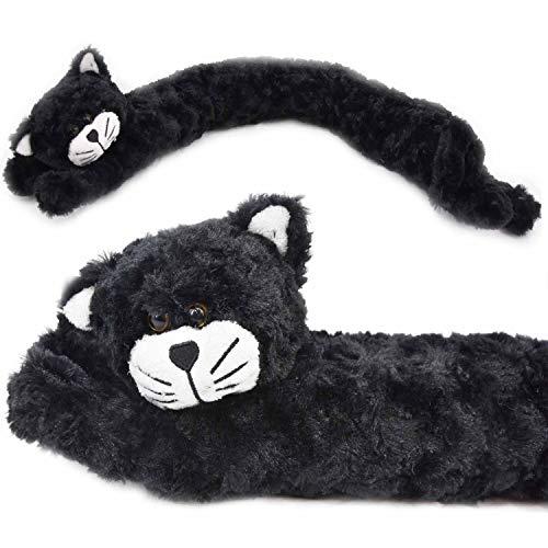 The Magic Toy Shop Zugluftstopper / Zugluftstopper für die Tür, weiches Micro-Fleece, Design Hund / Katze schwarze katze
