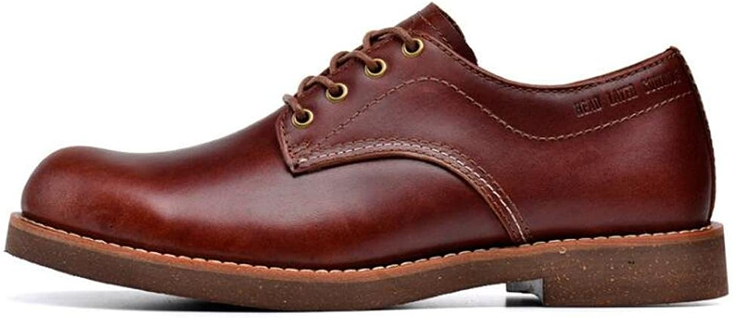 Men shoes Genuine Leather Lace Up Plain Toe Work Derby Size 38To 43