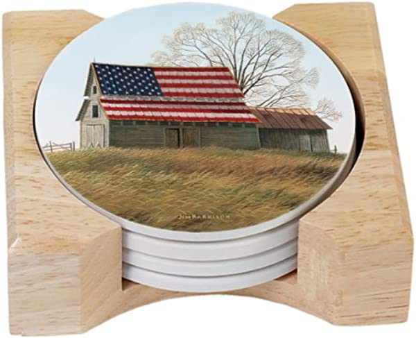CounterArt Patriotic Barn Round Absorbent Coasters In Wooden Holder Set Of 4