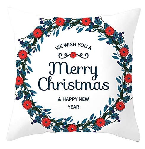 Homxi Fundas de 45x45 para Cojines,Fundas para Cojines Poliéster Merry Christmas Happy New Year Guirnalda,Navidad Funda Cojin Blanco