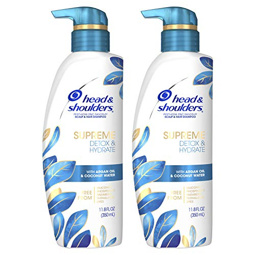 Head & Shoulders Supreme, Scalp Care and Dandruff Treatment Shampoo, with Argan Oil and Coconut Water, Detox and Hydrate Hair and Scalp, 11.8 Fl Oz Twin Pack
