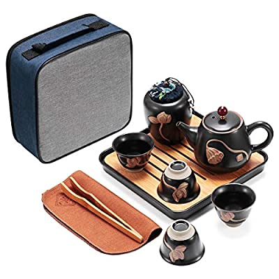 Porcelain Tea Set-Tea Set with Lotus Relief, Ceramic Tea Sets Include teapot, Tea cups, Tea canddy, Tea clip, Bamboo Tea tray and Portable Travel Bag (black)