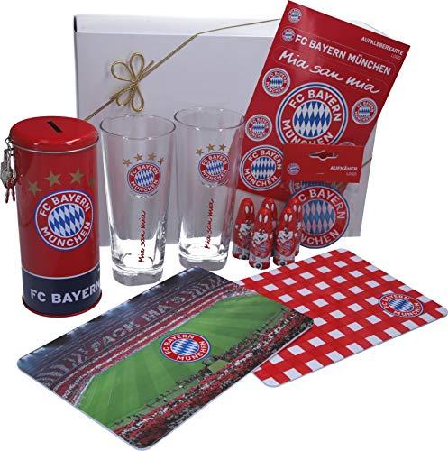 Bayern Fanartikel Oster Geschenkpaket fertig verpackt in weißer Geschenkverpackung für Kinder mit Spardose, Aufnäher, Trinkglas, Brettchen und Aufklebern