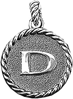 Amazing Solid Sterling Silver Initial D 23 mm Round Pendant