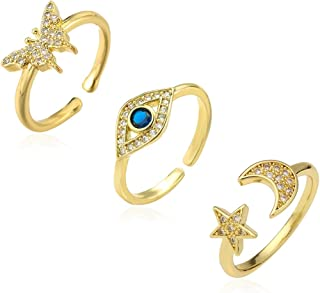 Bievochy 14K Gold Plated Evil Eye Butterfly Moon Star Ring for Women Adjustable Dainty Cubic Zirconia Stacking Rings Set
