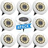 Tesecu Solar Disk Lights 12 LED Solar Ground Lights Outdoor Waterproof Stainless Steel in Ground Solar Lights for Walkway Pathway Lawn Patio Yard Garden- Warm White(8 Pack)