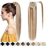 16 inches Clip in Human Hair Extensions Ponytail Wrap around Hair Extension One