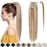 40cm - Extensiones Coleta de Cabello Pelo Natural Humano 80g Remy Human Hair Extension Ponytail Clip - 18P613# Rubio Ceniza y Rubia Dorado